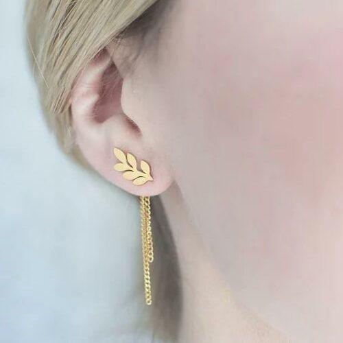 ต่างหูทองรูปใบมะกอก